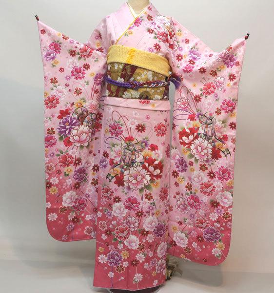 振袖 着物単品 合繊 仕立て上がり ピンク地 成人式 結納 結婚式 新品(株)安田屋 g336951282