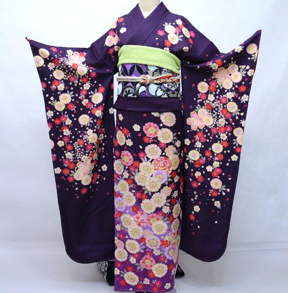 振袖 正絹 着物単品 仕立て上がり 濃い紫地 百花繚乱 新品 (株)安田屋 d426292208