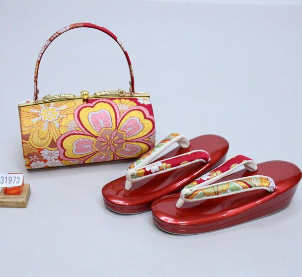 草履バッグセット 正絹 帯地 日本製 フリーサイズ 24.5cm 適合足サイズ23.5cm~25cm 新品(株)安田屋 f392961978
