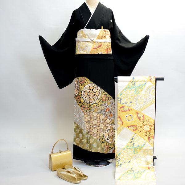 黒留袖フルセット 家紋入れ別途¥6000 正絹 着物 7日間レンタル 小物まですべて揃う20点一式(株)安田屋 s659262132