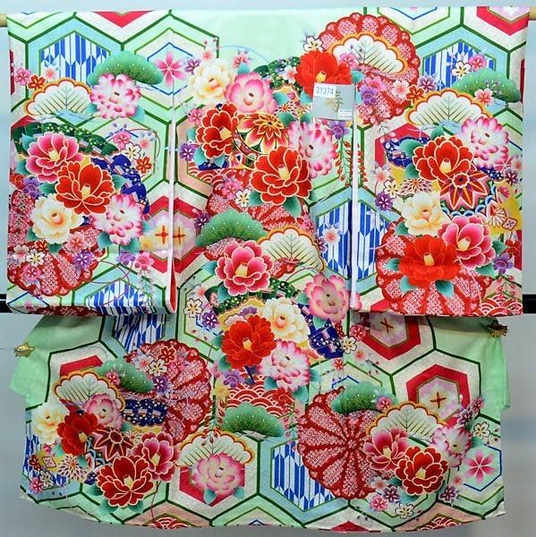 お宮参り 産着 女児 女の子 正絹 のしめ 縫製と加工は日本製 金刺繍 緑色 綸子地 祝着 新品 (株)安田屋 d381054974