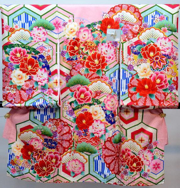お宮参り 産着 女児 女の子 正絹 のしめ 縫製と加工は日本製 金刺繍 ピンク 綸子地 祝着 新品 (株)安田屋 t666453096