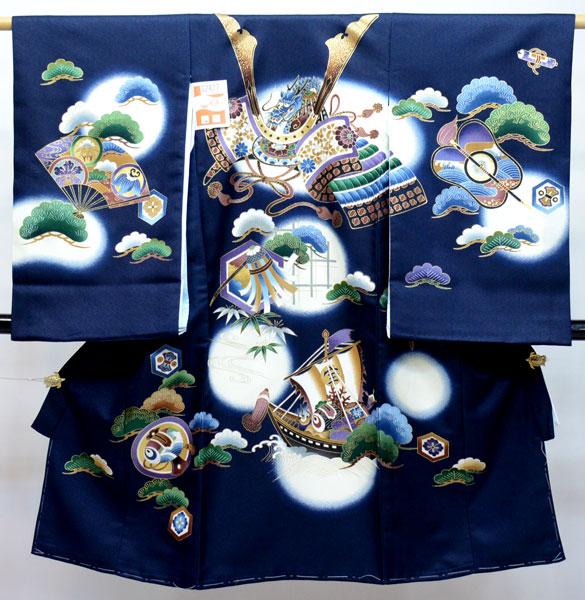 お宮参り 産着 男児 合繊 のしめ 祝着 陽気な天使 濃紺地 新品 (株)安田屋 v683969572
