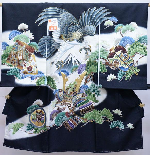 お宮参り 産着 男児 合繊 のしめ 祝着 陽気な天使 黒地 新品 (株)安田屋 x679078197
