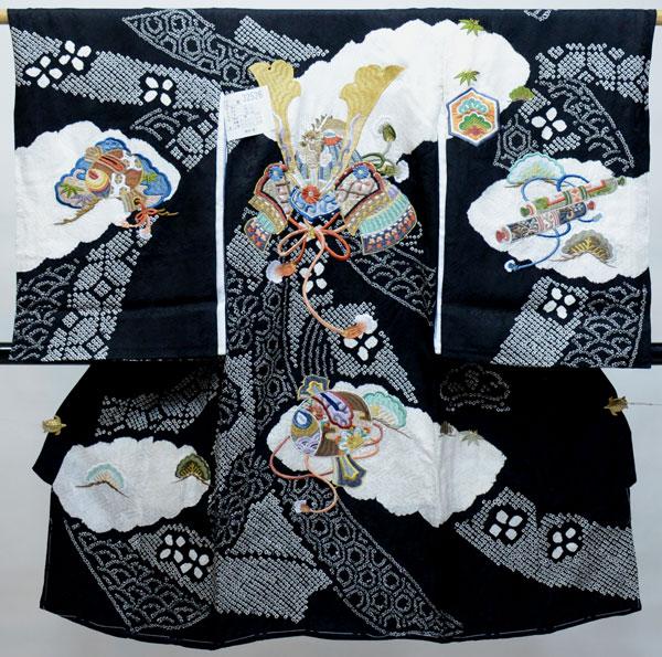お宮参り 産着 男児 正絹 のしめ 高級 絞り 柄刺繍 綸子 黒地 新品(株)安田屋 r407547877