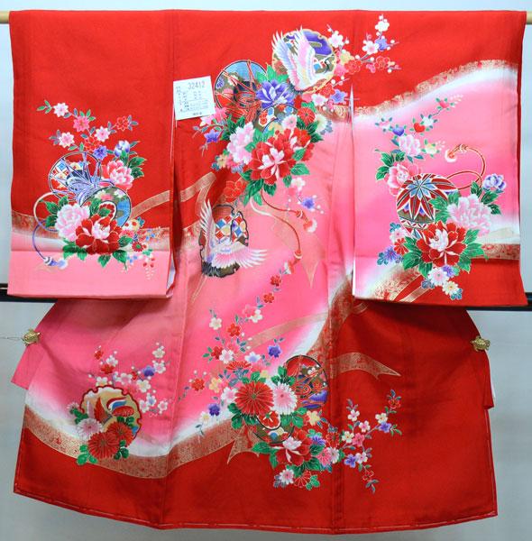 お宮参り 産着 一つ身 のしめ 祝着 着物 正絹 女児 女の子 赤地 羽二重 新品(株)安田屋 p746568681
