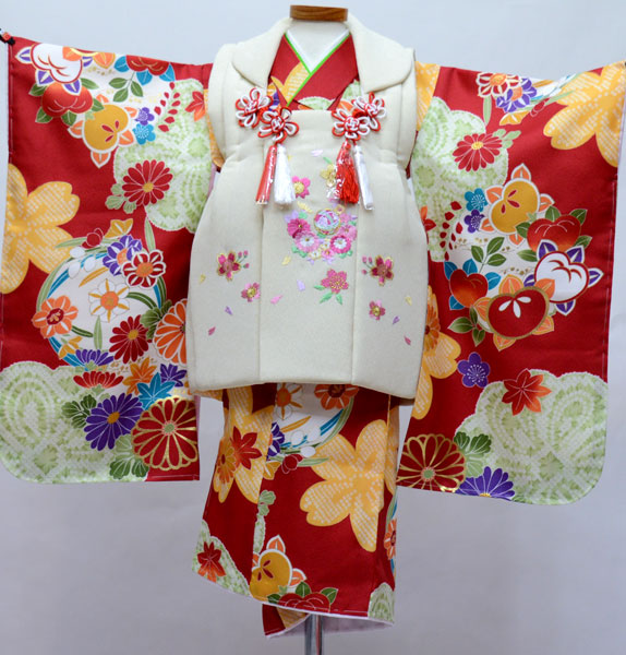 七五三 3歳 3才 三歳 三才 女児 被布着物フルセット 染め加工日本 新品(株)安田屋 l582240905
