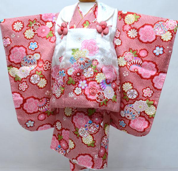 七五三 3才 3歳 三才 三歳 正絹 女児 女の子 被布 着物フルセット 半衿縫い付け済み 陽気な天使 新品(株)安田屋 b450866640