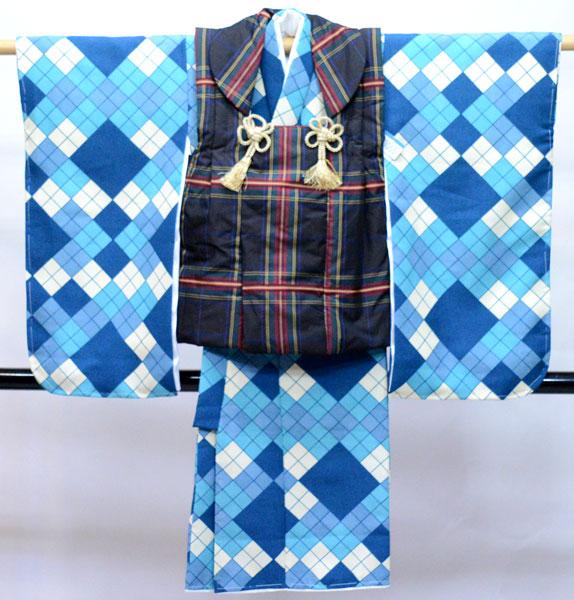 七五三 3歳 3才 三歳 三才 男の子 男児 被布 着物フルセット 生地は日本製 新品(株)安田屋 q360723749