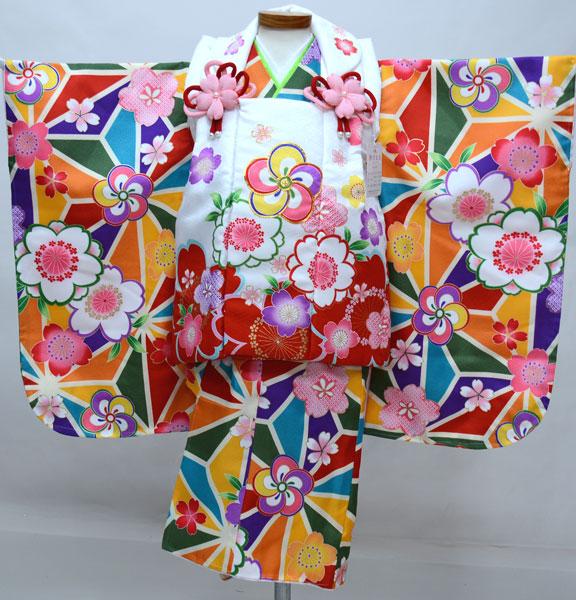 七五三 3才 3歳 三才 三歳 女児 女の子 刺繍被布着物フルセット 千紫万紅 祝着 ポリエステル 新品(株)安田屋 j653196838