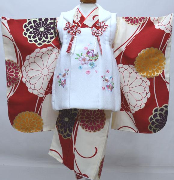 七五三 三歳 女児 被布着物フルセット 被布と着物生地は日本製 染め加工日本 縫製と長襦袢は海外 新品 (株)安田屋 b459852037