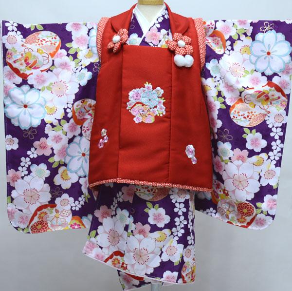 七五三 3歳 3才 三歳 三才 女児 女の子 被布着物フルセット 半衿足袋付 小町 祝着 新品(株)安田屋 l623484124