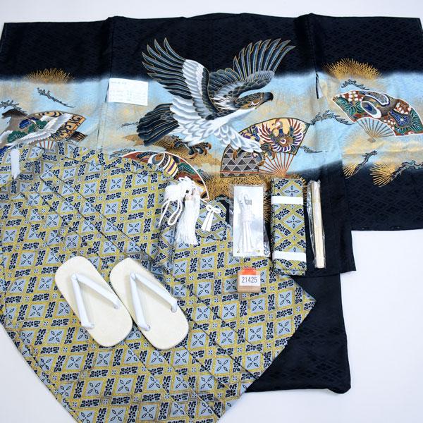 七五三 5歳 5才 五歳 五才 男の子 男児 祝着 羽織着物袴フルセット 紋袴 (仕立て可95-125cm 紋入れ可 草履サイズ