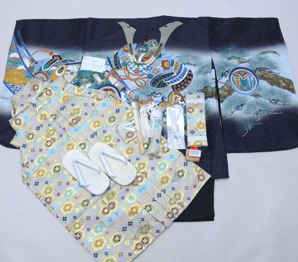 七五三 五歳 男児 着物 羽織 袴フルセット 黒地 紋袴 袴変更可能 新品(株)安田屋 s708599269