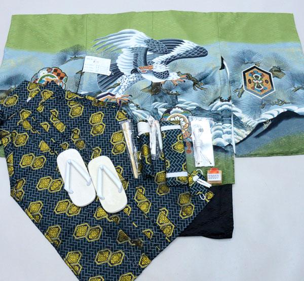 七五三 五歳 男児 着物 羽織 袴フルセット 緑地 紋袴 袴変更可能 新品(株)安田屋 v685921673