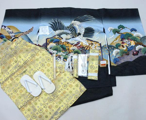 七五三 五歳 男児 着物 羽織 袴フルセット 黒地 紋袴 袴変更可能 新品(株)安田屋 m379925549