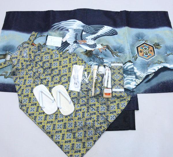 七五三 五歳 男児 着物 羽織 袴フルセット 黒地 紋袴 袴変更可能 新品(株)安田屋 m379925545