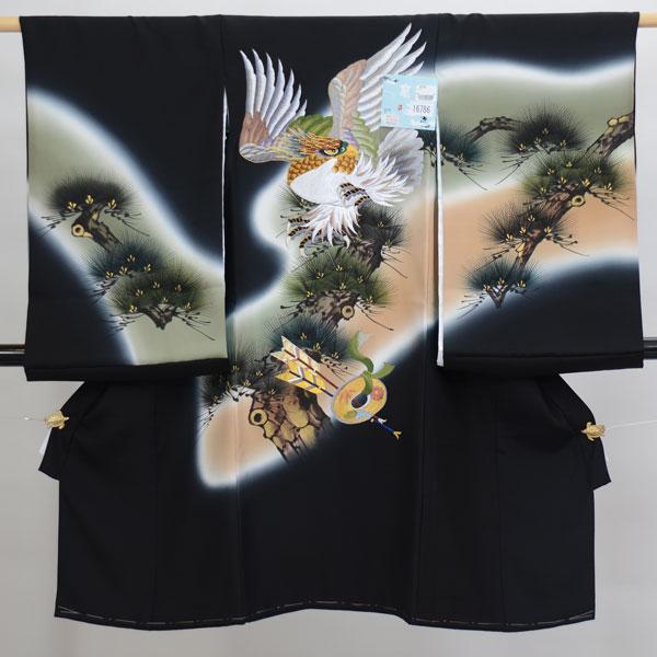 お宮参り産着 男児 男の子 高級 正絹 のしめ 着物 羽二重 祝着 初着 一つ身 柄刺繍大 鷹 新品 (株)安田屋 j338241581