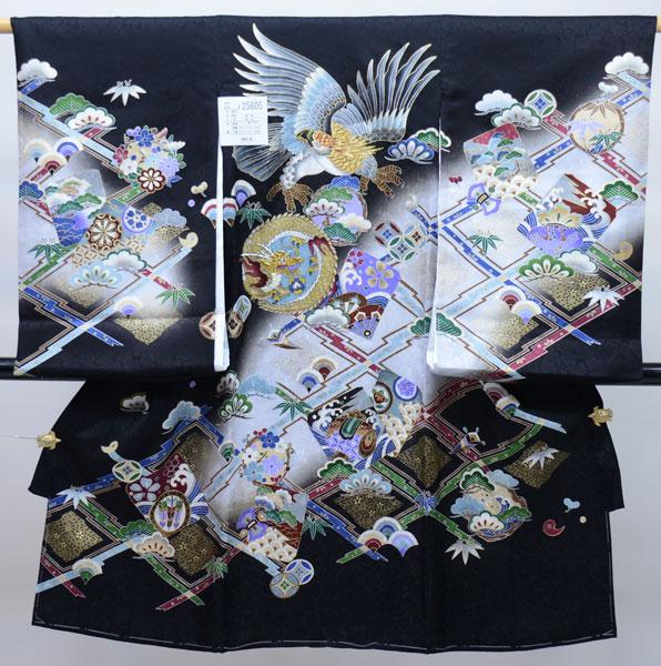 お宮参り産着 男児 男の子 正絹 のしめ 着物 祝着 初着 一つ身 綸子 豪華絢爛 金刺繍 黒地 新品(株)安田屋 e229216356