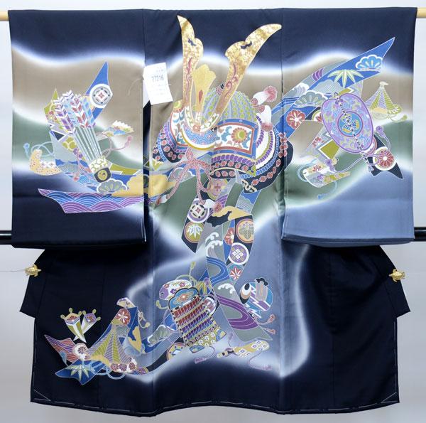 お宮参り産着 男児 男の子 正絹 のしめ 着物 祝着 初着 一つ身 高級 本格手描き 黒地 羽二重 新品 (株)安田屋 k293571543