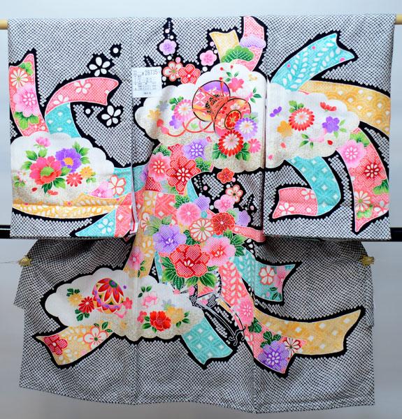 お宮参り産着 女児 女の子 正絹 のしめ 総疋田鹿子模様柄 祝着 着物 一つ身 初着 新品 (株)安田屋 p620199383