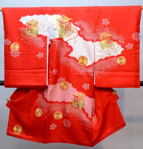 お宮参り産着 女児 女の子 正絹 のしめ 金刺繍 祝着 着物 一つ身 初着 新品 (株)安田屋 h337175971