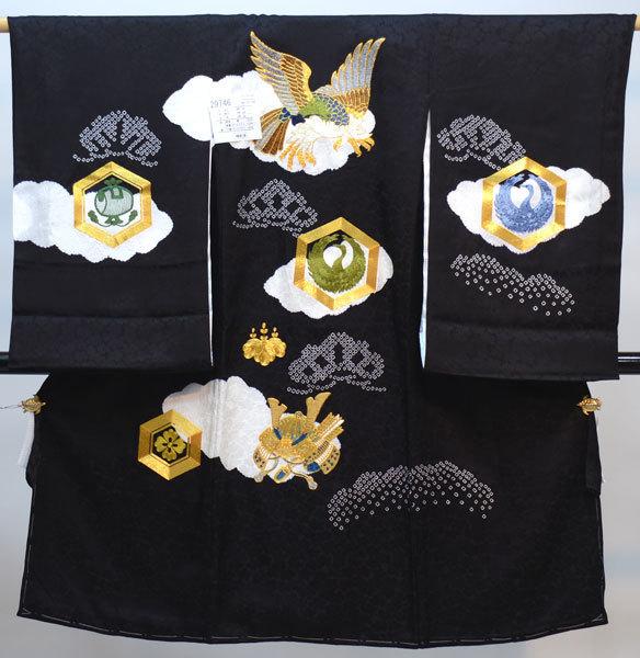 お宮参り産着 男児 男の子 正絹 のしめ 着物 祝着 初着 一つ身 絞り 金刺繍 黒地 新品(株)安田屋 n322971244