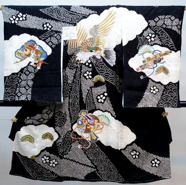 お宮参り産着 男児 男の子 正絹 のしめ 着物 祝着 初着 一つ身 高級 絞り 柄刺繍 黒地 新品(株)安田屋 g325624147