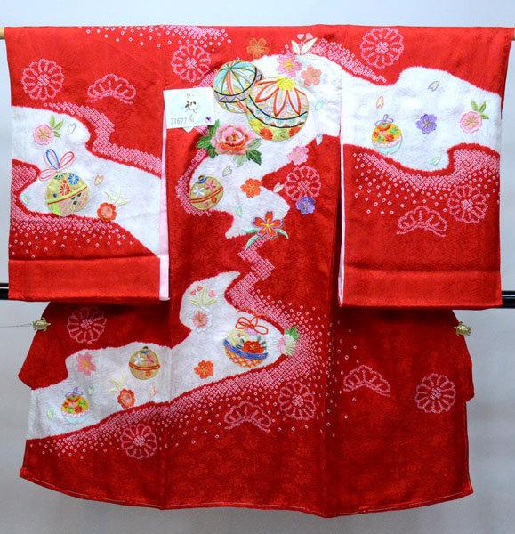 お宮参り 産着 女児 女の子 正絹 のしめ 絞り 柄刺繍 綸子地 一つ身 祝着 新品 (株)安田屋 o349423209
