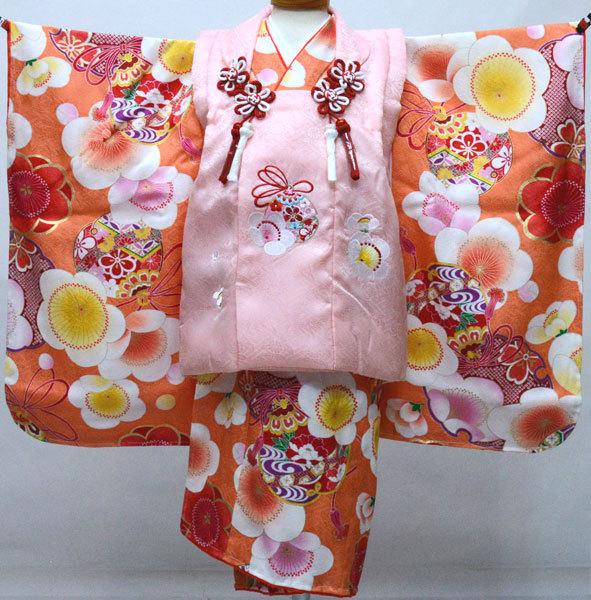 七五三 3才 3歳 三才 三歳 正絹 女児 女の子 被布着物フルセット 日本製 紅一点 祝着 新品(株)安田屋s688327828
