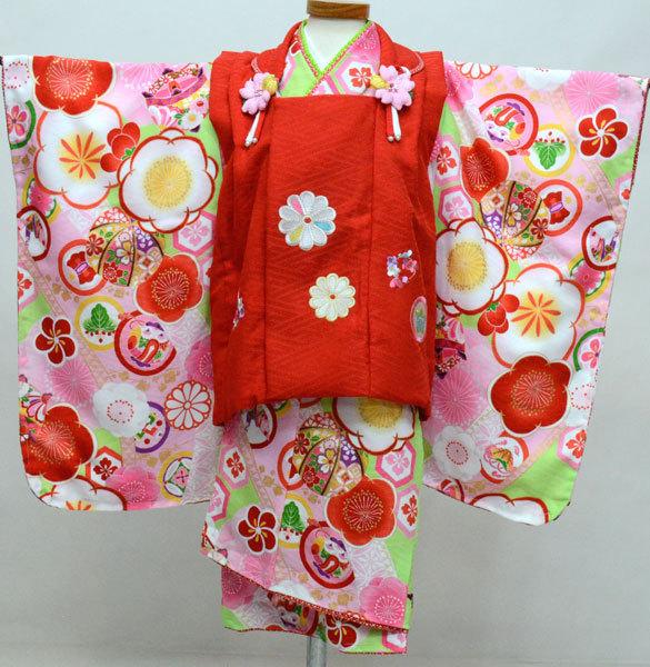 七五三 3才 3歳 三才 三歳 女児 女の子 被布着物フルセット 日本製 式部浪漫 かかと止めバンド付き ポリエステル 祝着 新品(株)安田屋o350482131