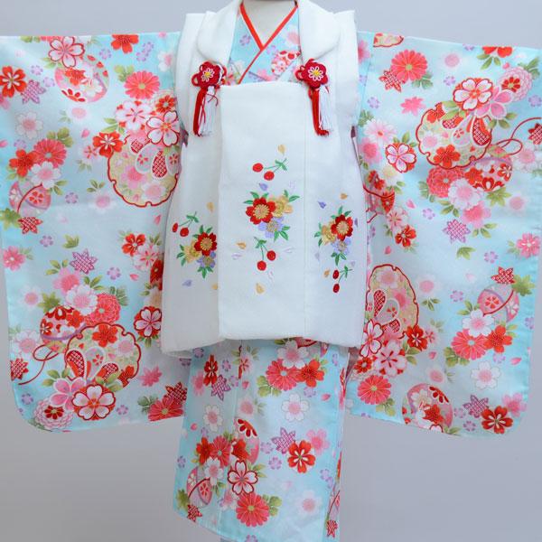七五三 3才 3歳 三才 三歳 女児 女の子 被布着物祝着フルセット 日本製 被布に刺繍入り 新品(株)安田屋l342079605