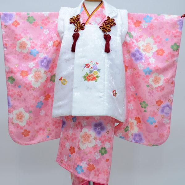 七五三 3才 3歳 三才 三歳 女児 女の子 被布着物祝着フルセット 日本製 陽気な天使 綸子地 新品(株)安田屋b246382351