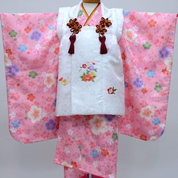 七五三 3才 3歳 三才 三歳 女児 女の子 被布着物祝着フルセット 日本製 陽気な天使 綸子地 新品(株)安田屋b246382355