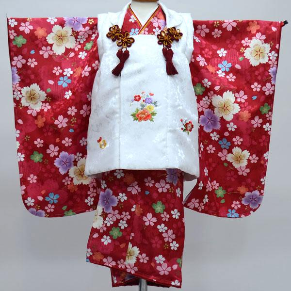 七五三 3才 3歳 三才 三歳 女児 女の子 被布着物祝着フルセット 日本製 陽気な天使 綸子地 新品(株)安田屋b246382307