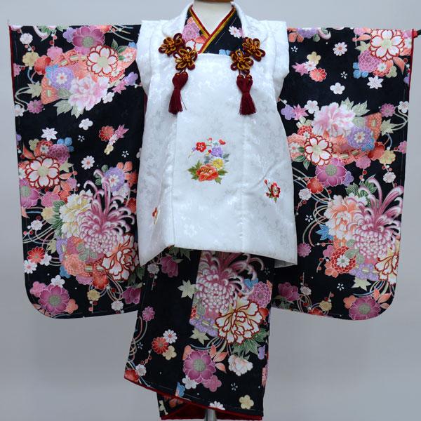 七五三 3才 3歳 三才 三歳 女児 女の子 被布着物祝着フルセット 日本製 陽気な天使 綸子地 新品(株)安田屋b246382303