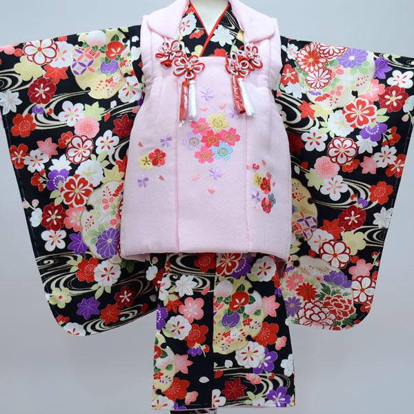 七五三 3才 3歳 三才 三歳 女児 女の子 被布着物祝着フルセット 被布と着物生地日本製 染め加工日本 縫製海外 長襦袢海外 新品(株)安田屋 s517093594