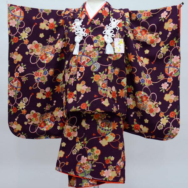 七五三 3才 3歳 三才 三歳 女児 女の子 被布着物祝着フルセット 日本製 しぼの大きいちりめん地 縮緬地 新品(株)安田屋 q144864149