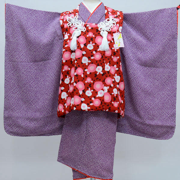七五三 3才 3歳 三才 三歳 女児 女の子 被布着物祝着フルセット 日本製 しぼの大きいちりめん地 縮緬地 鹿子模様柄 新品(株)安田屋 r178959122