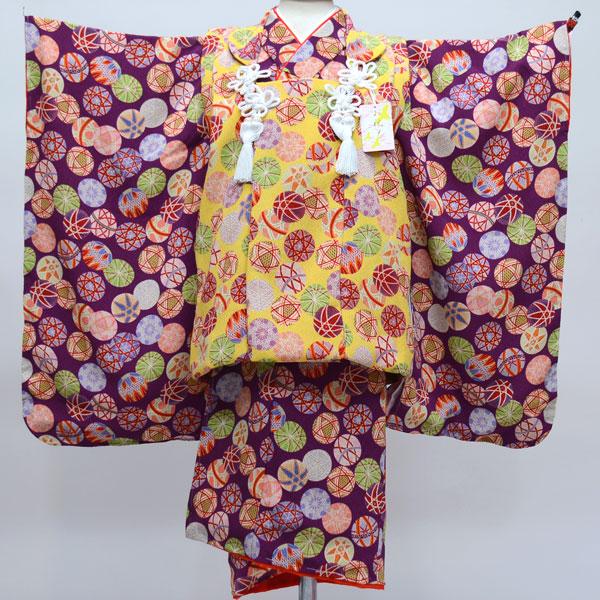 七五三 3才 3歳 三才 三歳 女児 女の子 被布着物祝着フルセット 日本製 しぼの大きいちりめん地 縮緬地 新品(株)安田屋 c587888386