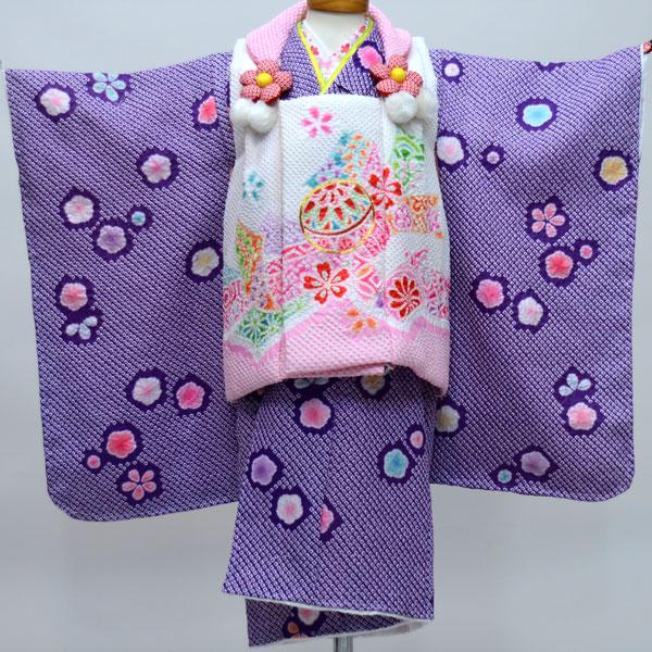 七五三 3才 3歳 三才 三歳 女児 女の子 被布着物祝着フルセット ポリエステル 総絞り 金刺繍 陽気な天使 新品(株)安田屋 e213891984