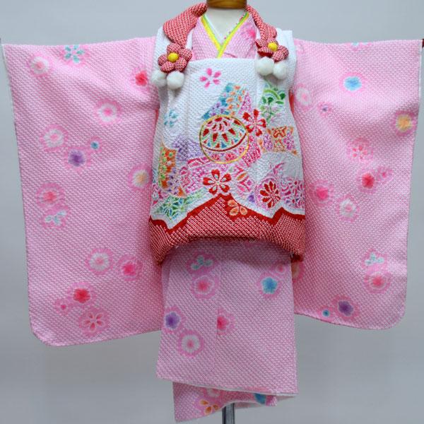 七五三 3才 3歳 三才 三歳 女児 女の子 被布着物祝着フルセット ポリエステル 総絞り 金刺繍 陽気な天使 新品(株)安田屋 e213891980