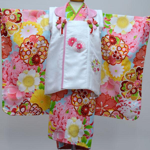 七五三 3才 3歳 三才 三歳 女児 女の子 被布着物祝着フルセット 日本製 ポリエステル 式部浪漫 新品(株)安田屋 b247574508