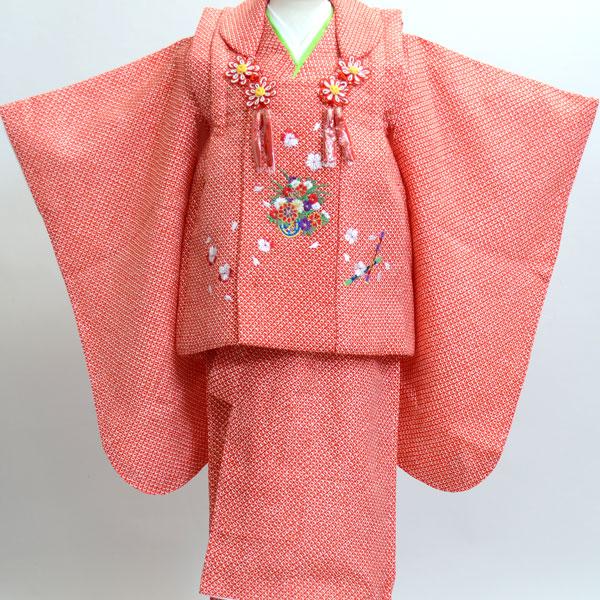 七五三 3才 3歳 三才 女児 三歳 被布祝着着物フルセット 総柄鹿子 刺繍模様 新品(株)安田屋 k245392199