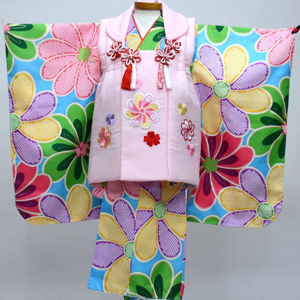 七五三 3才 3歳 三才 三歳 女児 女の子 刺繍被布着物フルセット 祝着 ポリエステル 新品(株)安田屋 o208160092