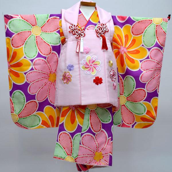 七五三 3才 3歳 三才 三歳 女児 女の子 刺繍被布着物フルセット 祝着 ポリエステル 新品(株)安田屋 s520399065