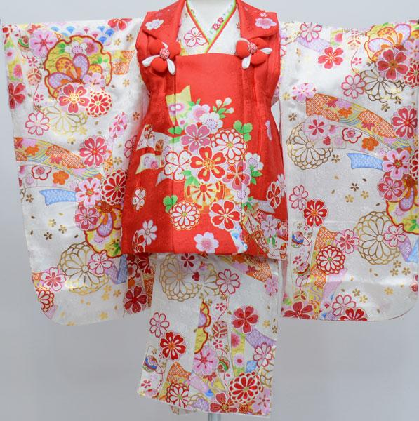 七五三 3歳 3才 三歳 三才 女児 女の子 正絹 被布着物祝着フルセット 半衿縫付け済み 足袋付き 花ひめ 新品(株)安田屋 d307815160