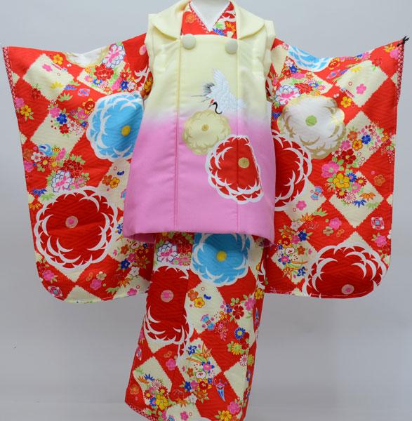七五三 3歳 3才 三歳 三才 女児 女の子 被布着物祝着フルセット 高橋大輔×JAPAN STYLE 日本製 新品 (株)安田屋 j443007806