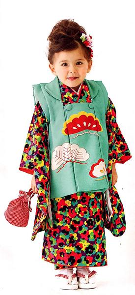 七五三 3才 3歳 三才 三歳 女児 女の子 被布着物祝着フルセット 日本製 式部浪漫 松柄 ポリエステル 新品(株)安田屋u183151800