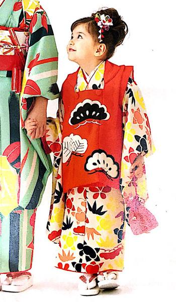 七五三 3才 3歳 三才 三歳 女児 女の子 被布着物祝着フルセット 日本製 式部浪漫 松柄 ポリエステル 新品(株)安田屋g254110949